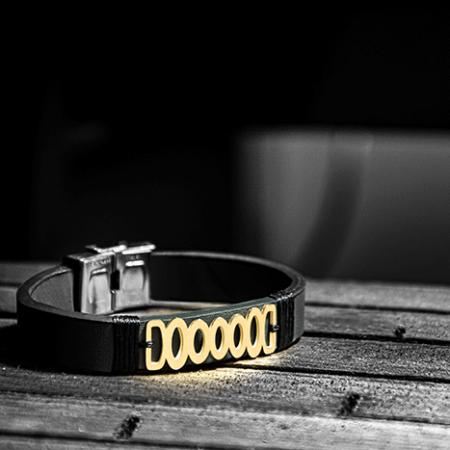 دستبند طلا چرم طرح TB1218