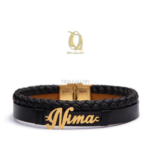 دستبند چرم اسم نیما
